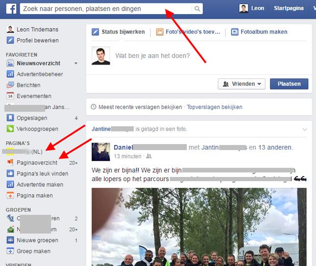 pagina selecteren op Facebook