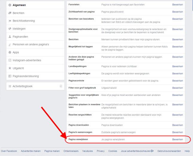 pagina verwijderen facebook